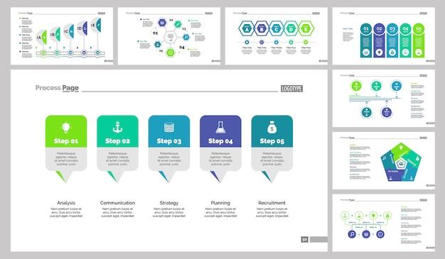 Conjunto de plantillas de diapositivas de ocho flujos de trabajo