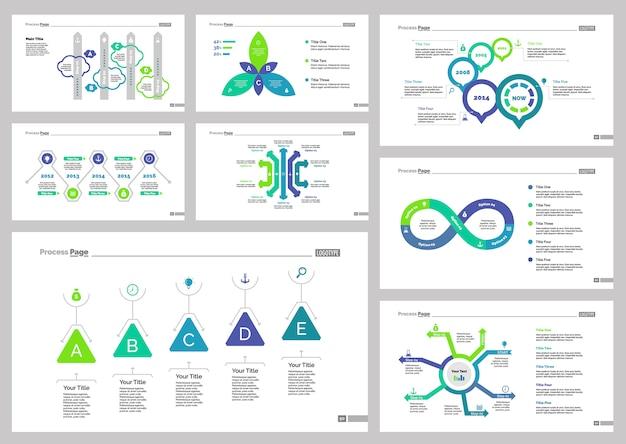 Conjunto de plantillas de diapositivas de ocho negocios