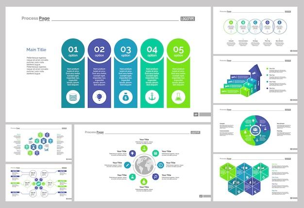 Conjunto de plantillas de diapositivas de ocho trabajo en equipo