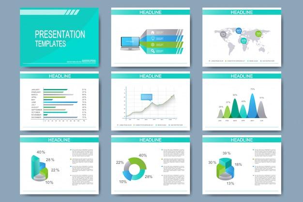 Conjunto de plantillas para diapositivas de presentación multipropósito. diseño de negocios moderno con gráficos y tablas.