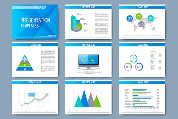Conjunto de plantillas para diapositivas de presentación.