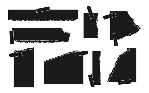 Conjunto de plantillas de diferentes formas de papel de silueta negra rasgada de página vacía rasgada con hoja de nota de pieza de cinta adhesiva para álbum de recortes o cuaderno trozo hecho jirones para recordatorios de texto ilustración vectorial