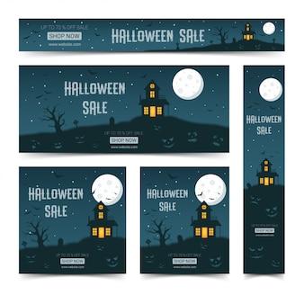 Conjunto de plantillas de diseño de banners web de feliz halloween,