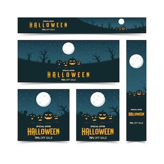 Conjunto de plantillas de diseño de banners web de feliz halloween