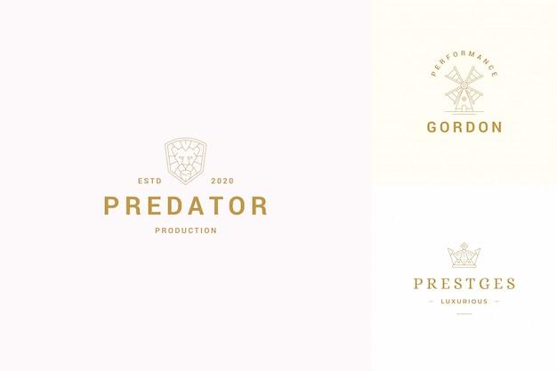 Conjunto de plantillas de diseño de emblemas de logotipos de línea de vector