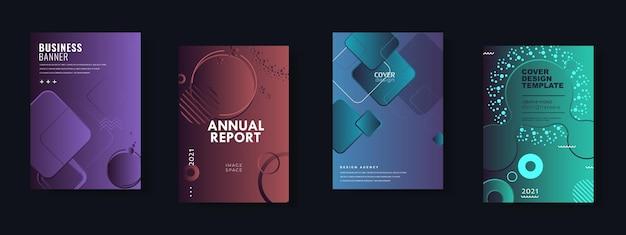 Conjunto de plantillas de diseño de folletos, informes anuales, folletos, ilustraciones vectoriales para presentaciones comerciales, documentos corporativos, portadas de documentos y diseños de plantillas