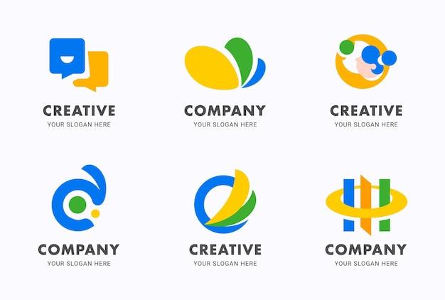 Conjunto de plantillas de diseño de icono plano de logotipo abstracto degradado