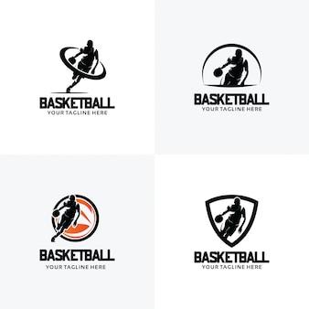 Conjunto de plantillas de diseño de logotipo de baloncesto