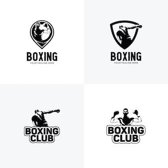 Conjunto de plantillas de diseño de logotipo de boxeo