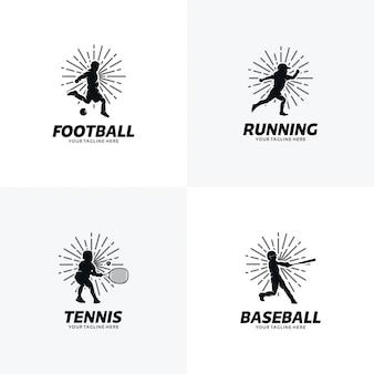 Conjunto de plantillas de diseño de logotipo deportivo