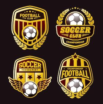 Conjunto de plantillas de diseño de logotipo de fútbol