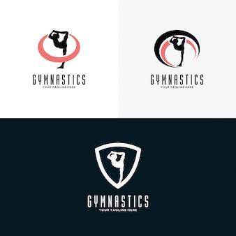 Conjunto de plantillas de diseño de logotipo de gimnasia