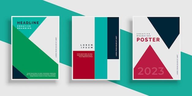 Conjunto de plantillas de diseño moderno de la cubierta geométrica