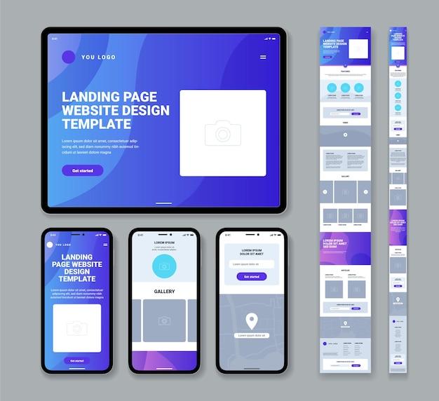 Conjunto de plantillas de diseño de página de destino de sitio web moderno para teléfono móvil o tableta con artículos de la galería formulario de contacto ilustración aislada plana