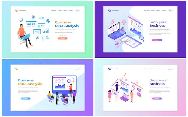 Conjunto de plantillas de diseño de páginas web para análisis de datos, marketing digital, trabajo en equipo, estrategia empresarial y análisis.