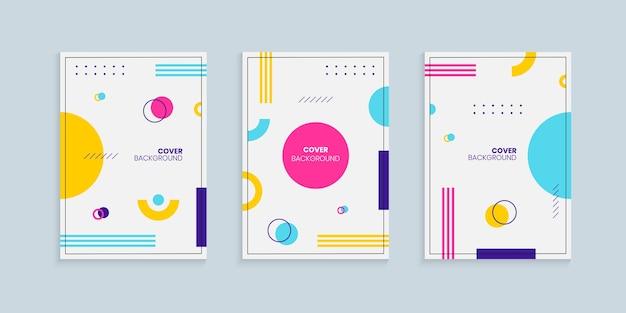 Conjunto de plantillas de diseño de portada de estilo memphis