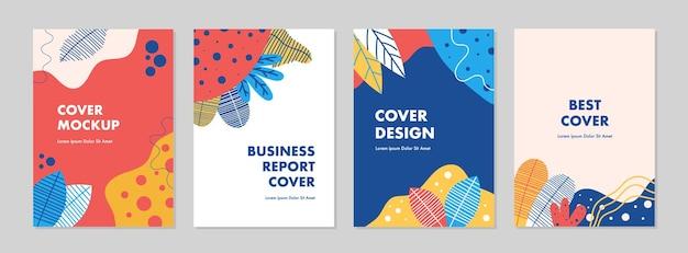 Conjunto de plantillas de diseño de portada universal creativas abstractas con concepto colorido