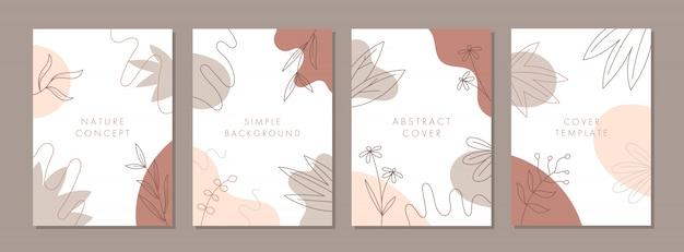 Conjunto de plantillas de diseño de portada universal creativas abstractas con concepto de naturaleza