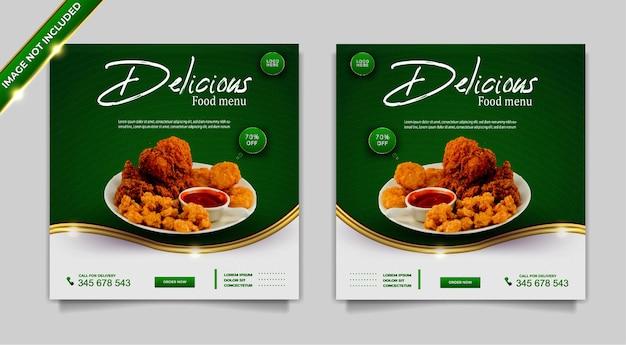 Conjunto de plantillas de diseño de publicación de banner de promoción de redes sociales de comida de lujo