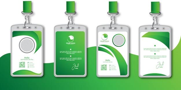 Conjunto de plantillas de diseño de tarjeta de identificación verde abstracto