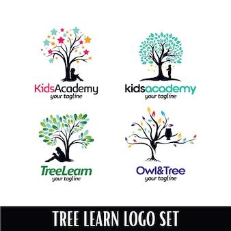 Conjunto de plantillas de diseños de logotipo de la academia de árbol