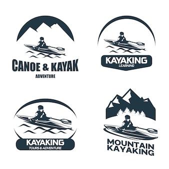 Conjunto de plantillas de diseños de logotipo de canoa y kayak