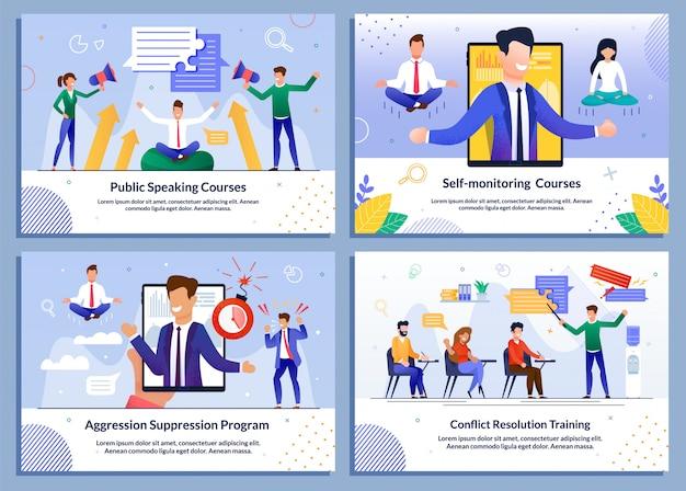 Conjunto de plantillas de educación en línea para empresarios en línea