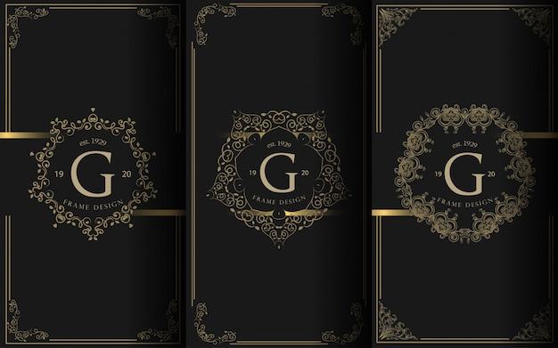 Conjunto de plantillas de embalaje con elemento de diseño ornamento, etiqueta, logotipo.