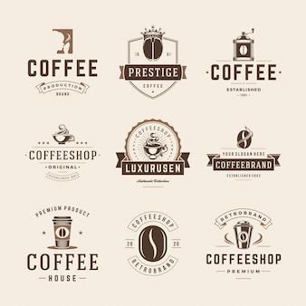 Conjunto de plantillas de emblemas e insignias de cafetería.