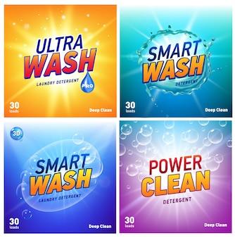Conjunto de plantillas de envasado de concepto de detergente de lavandería creativo