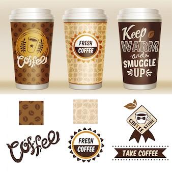 Conjunto de plantillas de envases de café para llevar