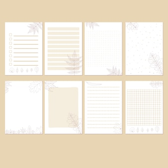Conjunto de plantillas estacionarias otoñales minimalistas simples