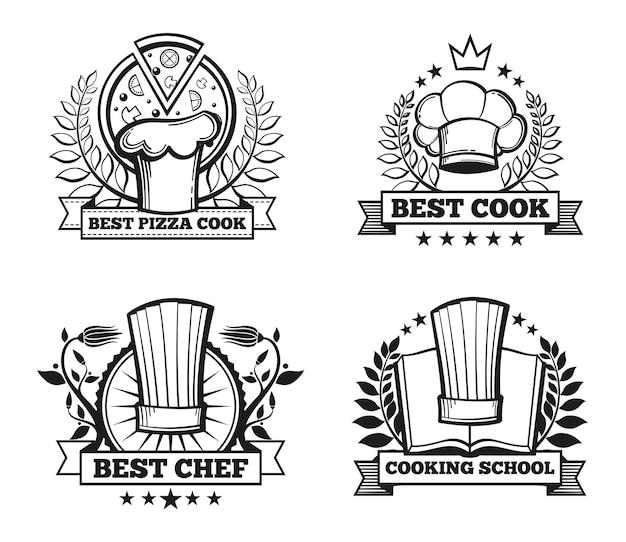 Conjunto de plantillas de etiquetas de gorro de chef