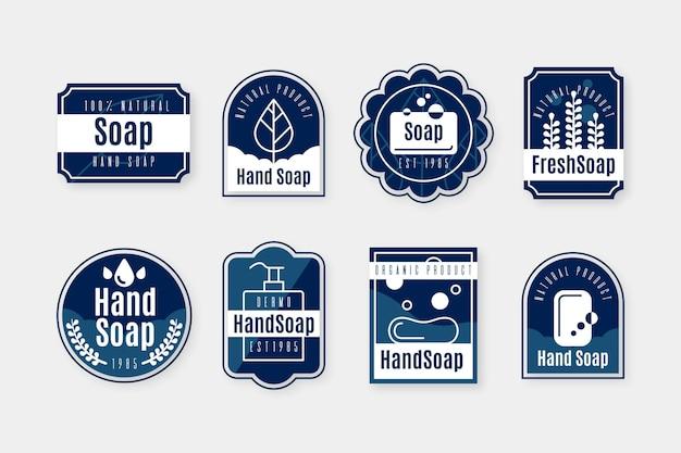 Conjunto de plantillas de etiquetas de jabón dibujado