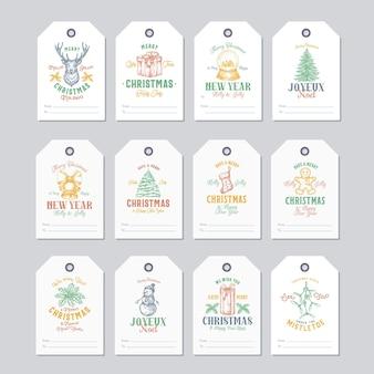 Conjunto de plantillas de etiquetas o etiquetas de regalo listas para usar de navidad y año nuevo. reno, acebo, muérdago, muñeco de nieve, pino y caja de regalo bocetos ilustraciones con tipografía retro. aislado.