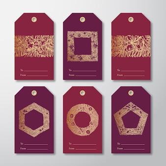 Conjunto de plantillas de etiquetas o etiquetas de regalo listas para usar de navidad y año nuevo.