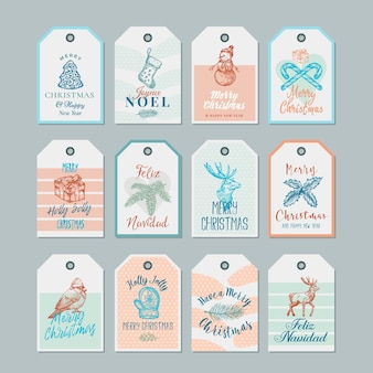 Conjunto de plantillas de etiquetas o etiquetas de regalo de navidad y año nuevo listas para usar.