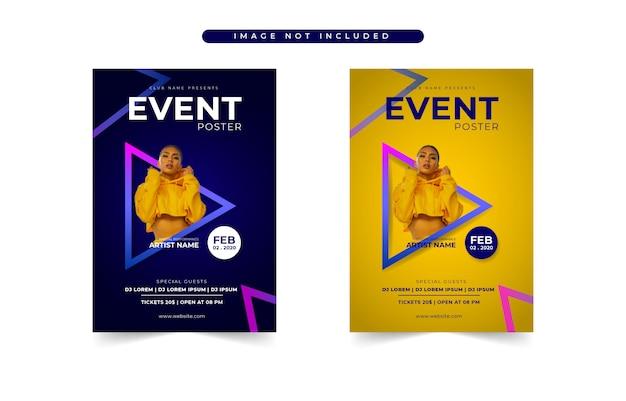 Conjunto de plantillas de evento de cartel moderno azul y amarillo