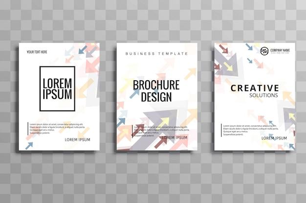 Conjunto de plantillas de flecha de negocio moderno folleto