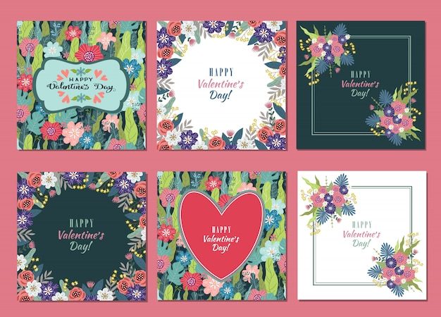 Conjunto de plantillas con flores y corazón