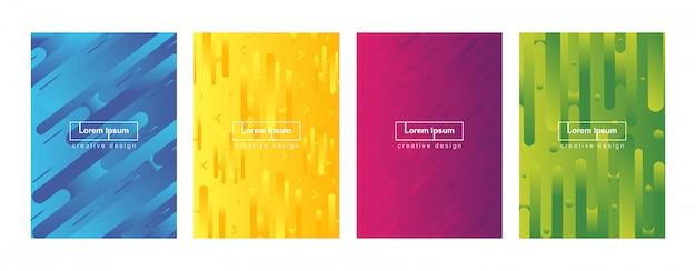 Conjunto de plantillas de fondo abstracto geométrico minimalista cubierta de degradado
