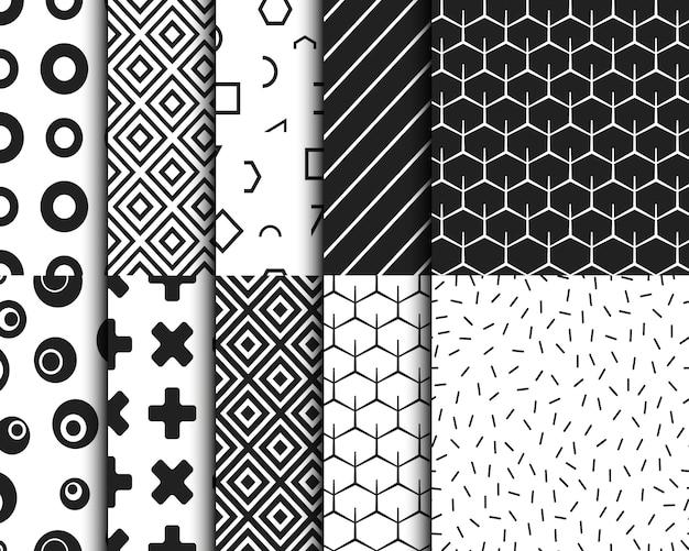 Conjunto de plantillas de fondo geométrico retro de patrones sin fisuras. ilustración