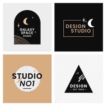 Conjunto de plantillas de galaxia de diseño de logotipo abstracto