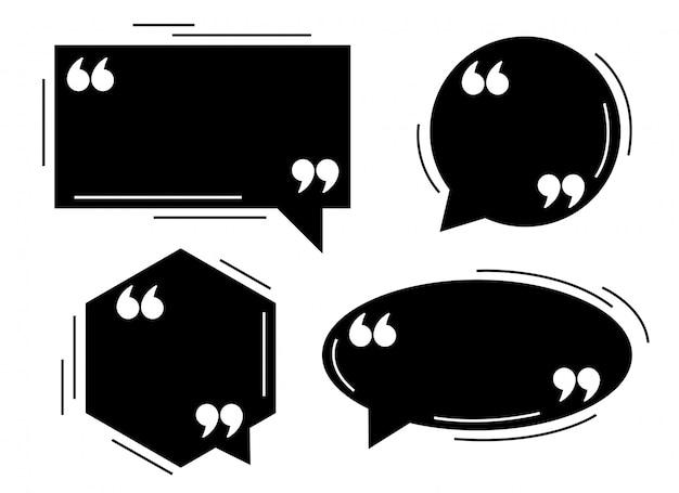 Conjunto de plantillas de globos de diálogo de cuatro comillas negras