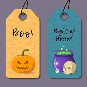 Conjunto de plantillas de halloween de dibujos animados.