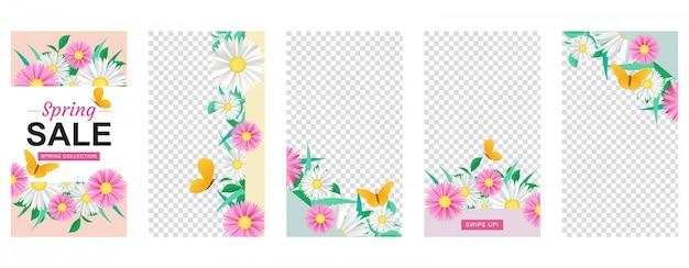 Conjunto de plantillas de historia de flores con formas geométricas