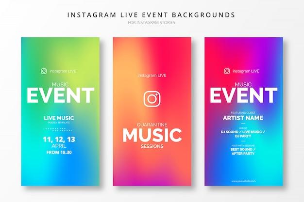 Conjunto de plantillas de historias de insta de gradiente de eventos en vivo de instagram