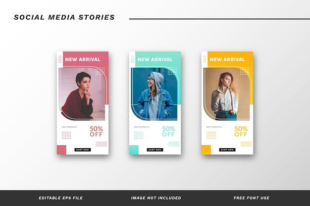 Conjunto de plantillas de historias de redes sociales de moda