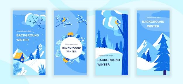 Conjunto de plantillas de historias de redes sociales de paisajes de invierno
