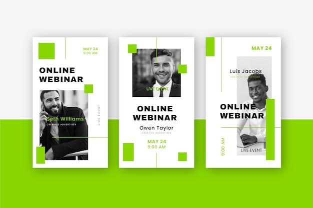 Conjunto de plantillas de historias de redes sociales de seminarios web